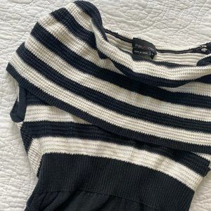 Max and Cleo Striped Cowl Neck Sweater Dress